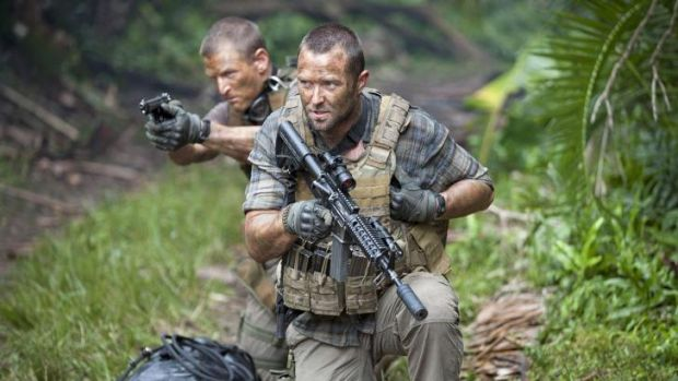 Rising Australian star Sullivan Stapleton (centre) in a scene from Strike Back.