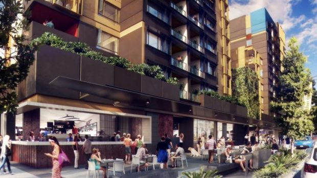An artist impression of the King Street retail precinct that will form part of the RNA redevelopment.