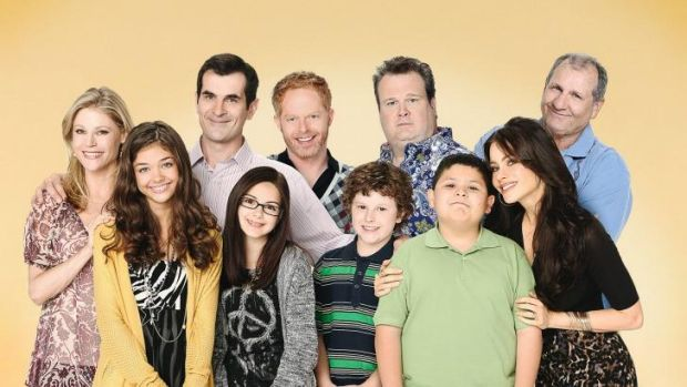Sarah Hyland, second left, with the cast from Modern Family.
