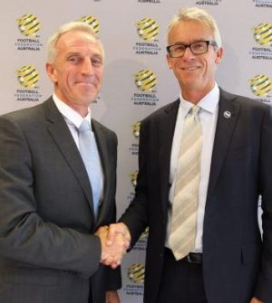 David Gallop (right) welcomes FFA's new technical director Eric Abrams.
