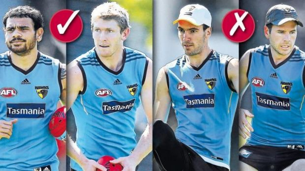 Ins and outs: Cryril Rioli and Ben McEvoy are likely inclusions, while Jonathon Ceglar and Jonathan Simpkin may miss the ...