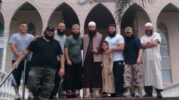 This Facebook photo shows Abu Talha, aka Harun Mehicevic, founder of al-Furqan, with people from the Sydney al-Risalah ...