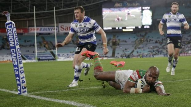Still got it: Lote Tuqiri scores a try against Canterbury in round 25.