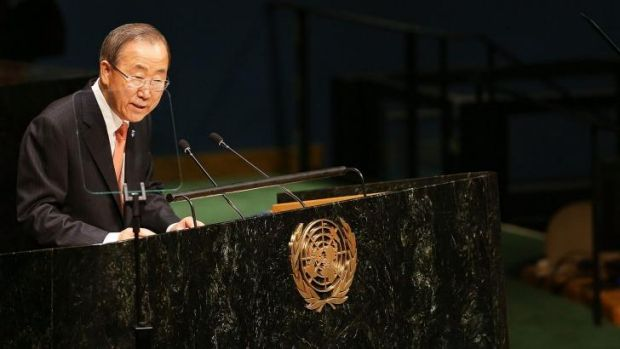 'The world's 'fasten seat belt' light is illuminated' ... UN Secretary-General Ban Ki-moon opens the 69th Session of the ...