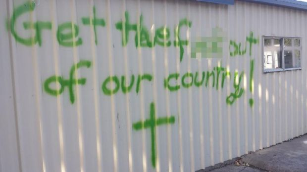 One of the abusive messages sprayed on the prayer centre.