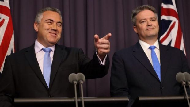 Treasurer Joe Hockey and Finance Minister Mathias Cormann.