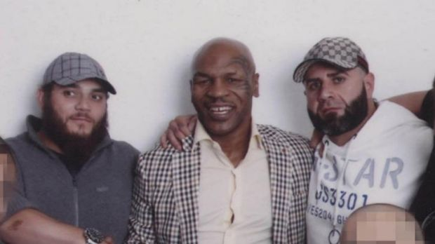 From right: George Alex Bilal Fatrouni, Mike Tyson and Khaled Sharrouf.