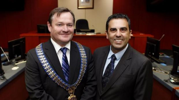 Mayoral return: Kent Johns, left, with deputy mayor Carmelo Pesce.