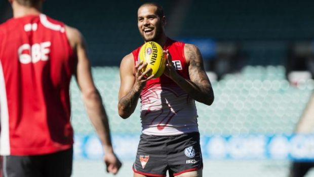 Fame game: Lance Franklin at the SCG on Tuesday.