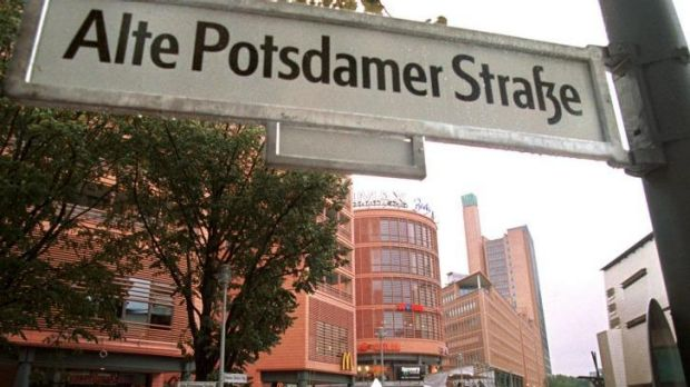 Business is booming: People walk in the newly constructed Potsdamer Platz complex.
