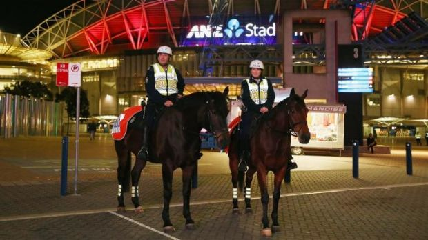 Mounted police officers outside ANZ Stadium.