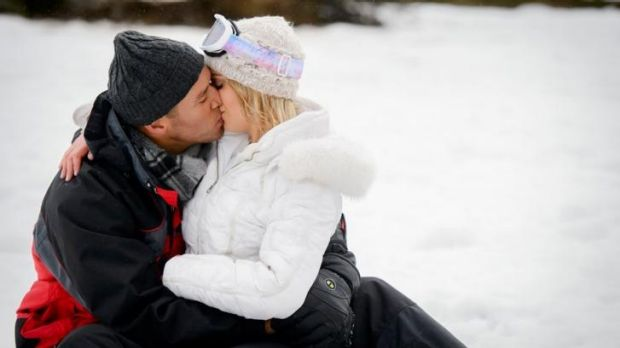 Bunnies ... Blake and Louise snuggle up in the snow before meeting her family.