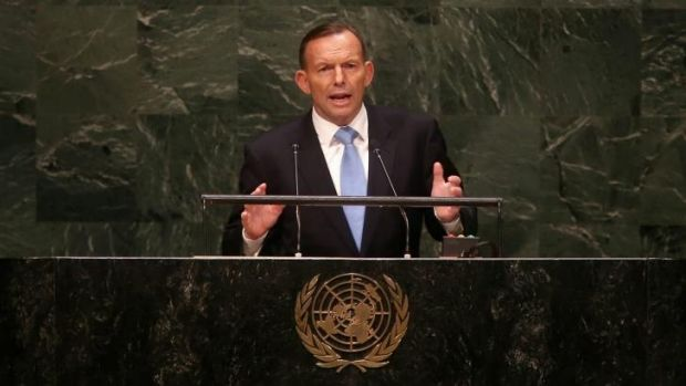 Prime Minister Tony Abbott addresses the United Nations General Assembly in New York.