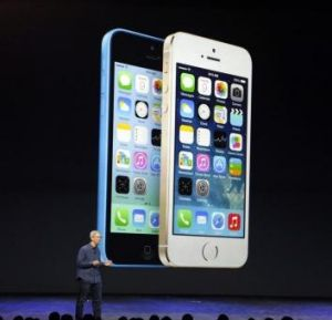 Cook presenting the new phones at the launch on September 9.