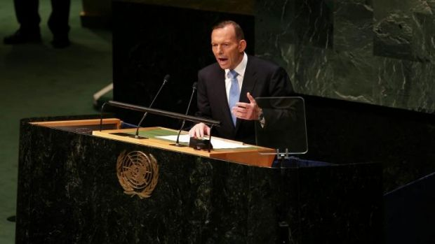Prime Minister Tony Abbott pictured at the UN General Assembly in New York.