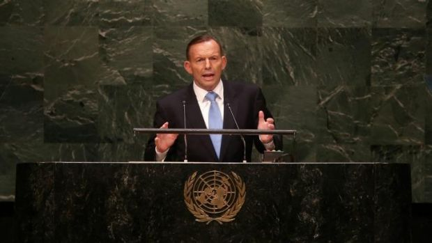 The Prime Minister addressing the United Nations General Assembly in New York.