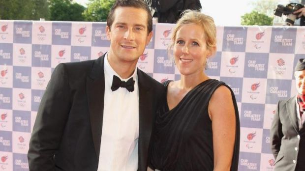 Skinny dipping secret: Bear Grylls with wife, Shara.