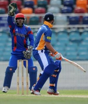 Comets batsman Andrew Harriott survives an LBW appeal by keeper Shafiqullah Shafiq off the bowling of Samiullah Shenwari.