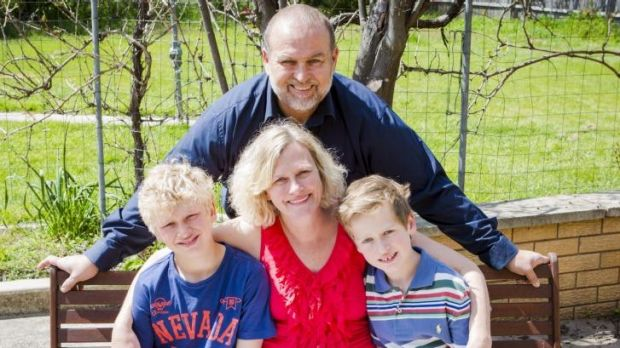 Canberra Mother of two Megan James, centre, has been twice diagnosed with breast cancer. She  pictured with sons Griffin ...
