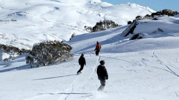 "Snowboarders at Perisher during what operators describe as ""one of the best seasons in a decade""."