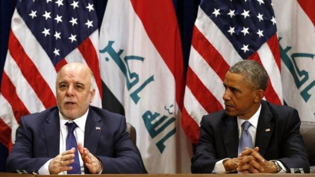 """Confusion: Iraqi PM Haider al-Abadi, left, stunned American reporters by informing them that Iraq had """"credible"""" ..."""