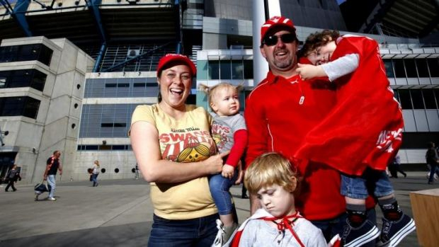 The Sweep family at the MCG for the 2014 AFL grand final.