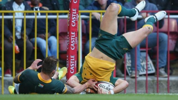 The headless wingman: Adam Ashley-Cooper scores the Wallabies' only try.