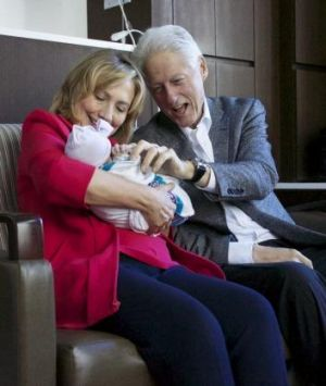 First-time grandparents: Hillary and Bill Clinton.