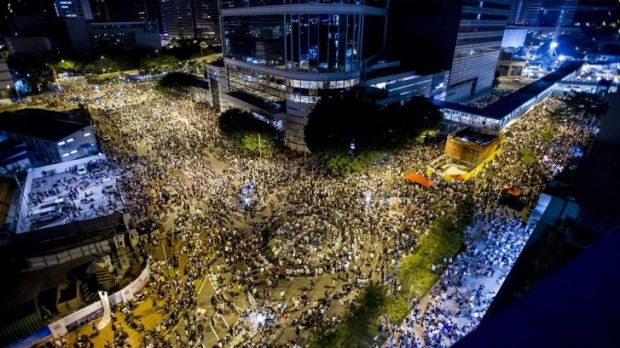 Protesters gather outside the government offices of chief executive Leung Chun-ying in Hong Kong.