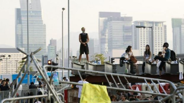 Student protesters gather in Hong Kong.