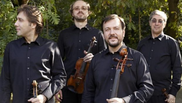 Slow start: The Borodin Quartet. From left: Igor Naidin (viola), Sergey Lomovsky (violin), Vladimir Balshin (cello) and ...