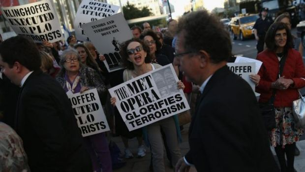 Protesters, many of them Jewish activists, demonstrate as people arrive for the opening night of the Metropolitan Opera ...