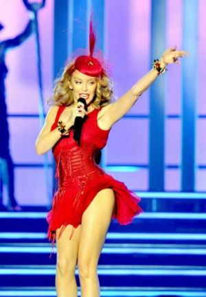 Kylie Minogue performs in Liverpool.