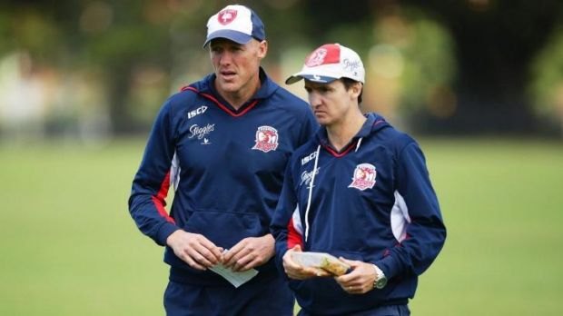 Roosters boosters: Jason Taylor with fellow assistant coach at a Roosters training session earlier this year.