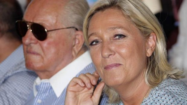 National Front leader Marine Le Pen with her father, party founder Jean-Marie Le Pen.