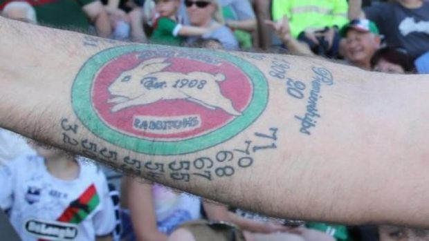 A close-up of Mark Hayes' 1971 premiership tattoo.