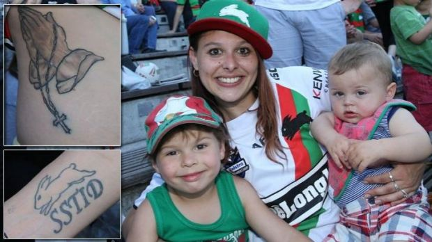 Tamara Lee with her children Ajay Lee-Dixon and Beau Dixon at the South Sydney fans day, and inset her tattoos: A cross ...