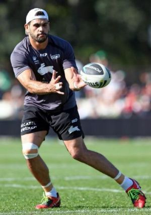 Special talent: Greg Inglis trains on Monday.