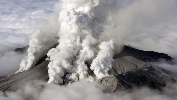 Dense plumes spew out from Mount Ontake as the Japanese volcano erupts on Saturday.