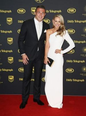 Hot new couple Rabbitohs star Sam Burgess and writer Phoebe Hooke made their debut on the Dally M red carpet.
