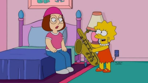 Meg Griffin and Lisa Simpson sharing such a touching moment.