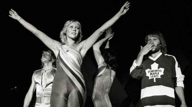 Bjorn Ulvaeus, left, Agnetha Faltskog, Anni-Frid Lyngstad and Benny Andersson perform during Abba's 1979 world tour.