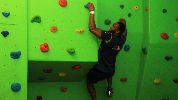 Climbing high ... Tevita Kuridrani during a training session.