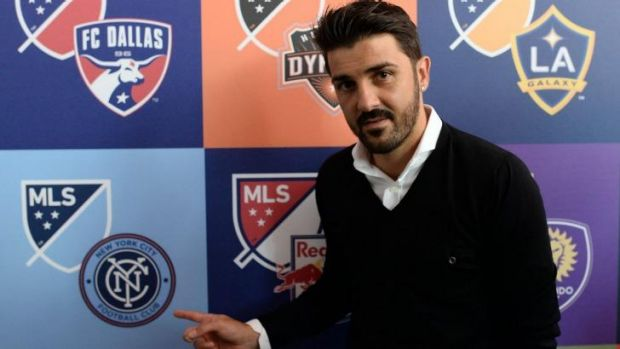David Villa poses during an event to unveil the new logo for Major League Soccer in New York on September 18. Melbourne ...