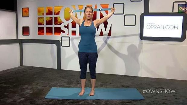 Yoga instructor Jill Miller demonstrating one of her stretches.