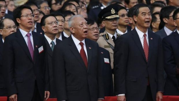 Director of the Liaison Office of the Central People's Government in Hong Kong, Zhang Xiaoming; former Hong Kong chief ...