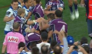 The infamous incident: James Graham comes to grips with Billy Slater in the 2012 grand final.