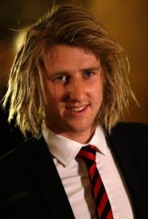 Dyson Heppell arrives at Essendon's best-and-fairest count.