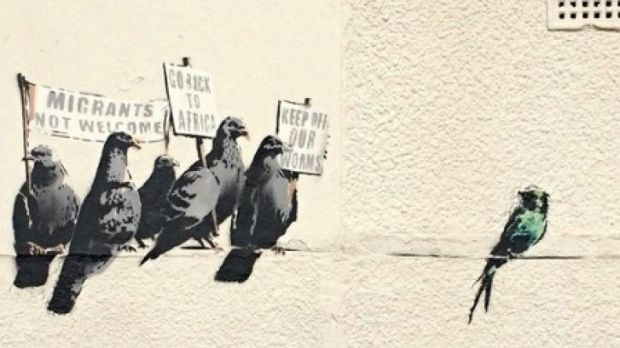 """Banksy artwork in Clacton-on-Sea which received complaints of """"racism""""."""
