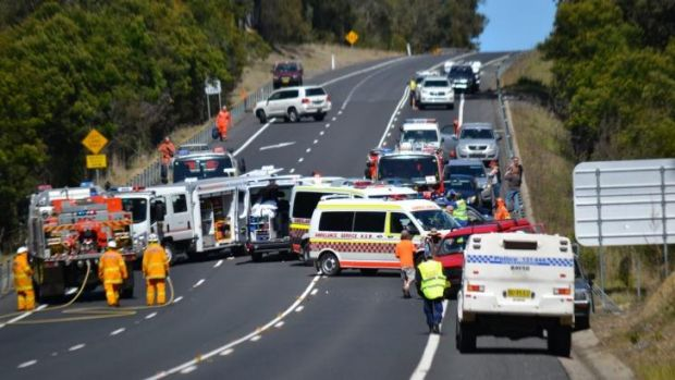 Two people have died after a three-car crash on the NSW south coast.